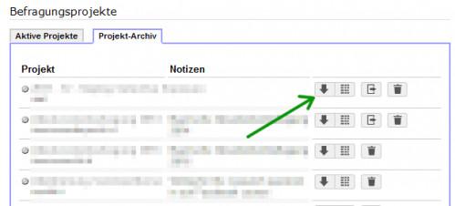 Screenshot Projekt-Archiv