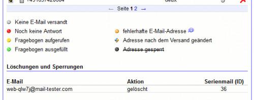 """Screenshot der """"Adressliste"""" mit gelöschter E-Mail-Adresse"""